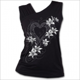 Schwarzes Spiral Gothic Gathered Shoulder Top - Pure Of Heart
