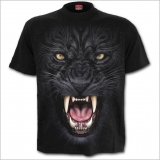 Schwarzes Spiral Gothic T-Shirt - Tribal Panther